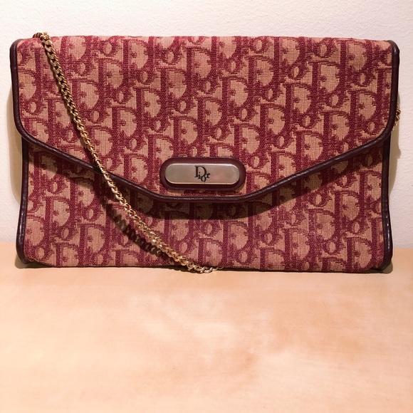 5ae8a2a2574a Dior Handbags - Dior Vintage Trotter Monogram Clutch in Burgundy